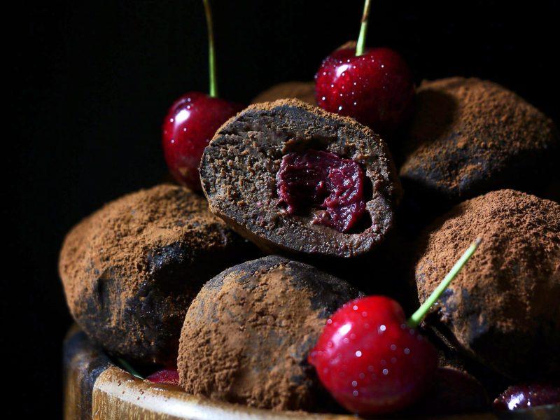 Dark chocolate truffles with cherry filling.